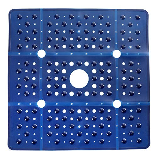 SlipX Solutions Extra Large Square Shower Mat, 27 x 27 Inches, Provides More Coverage & Non-Slip Traction (100 Suction Cups, Great Drainage, Navy Blue)