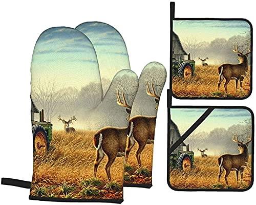 Juego de guantes y soportes para horno de ciervos, resistentes al calor, guantes antideslizantes para horno de cocina y horno para asar a la parrilla, horno y microondas
