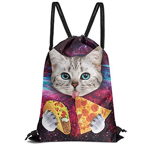 Cute Cat Waterproof Gym Drawstring Bag,Sports Backpack for Men Women Girls Boys