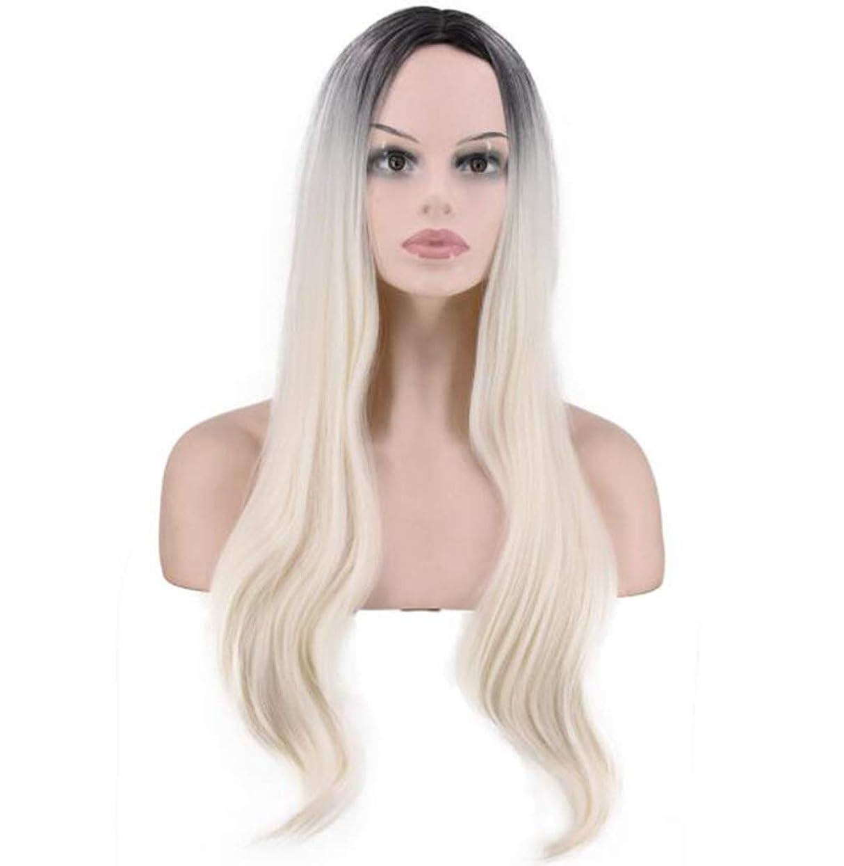 チューブそばにオープナーかつらゴールドグラデーション長い縮毛服スーツ女性の長い縮毛花ドレスブロンドコスプレパーティー衣類女性のかつら