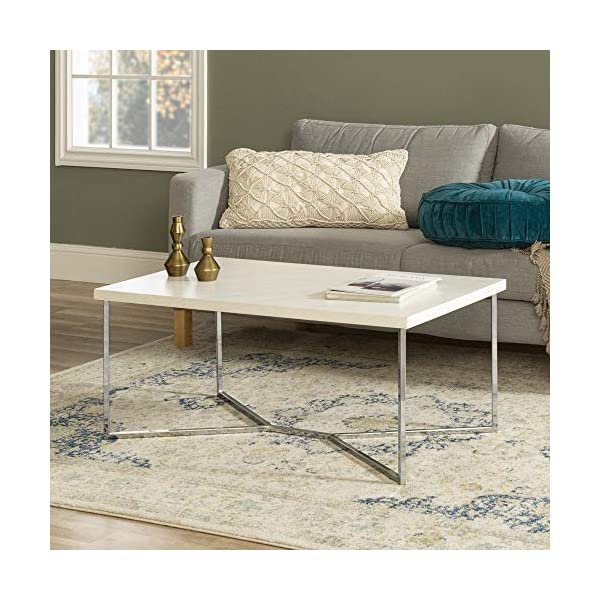 Walker Edison Furniture Company Mid Century Modern Gold Rectangle Coffee Table, Marble/Chrome