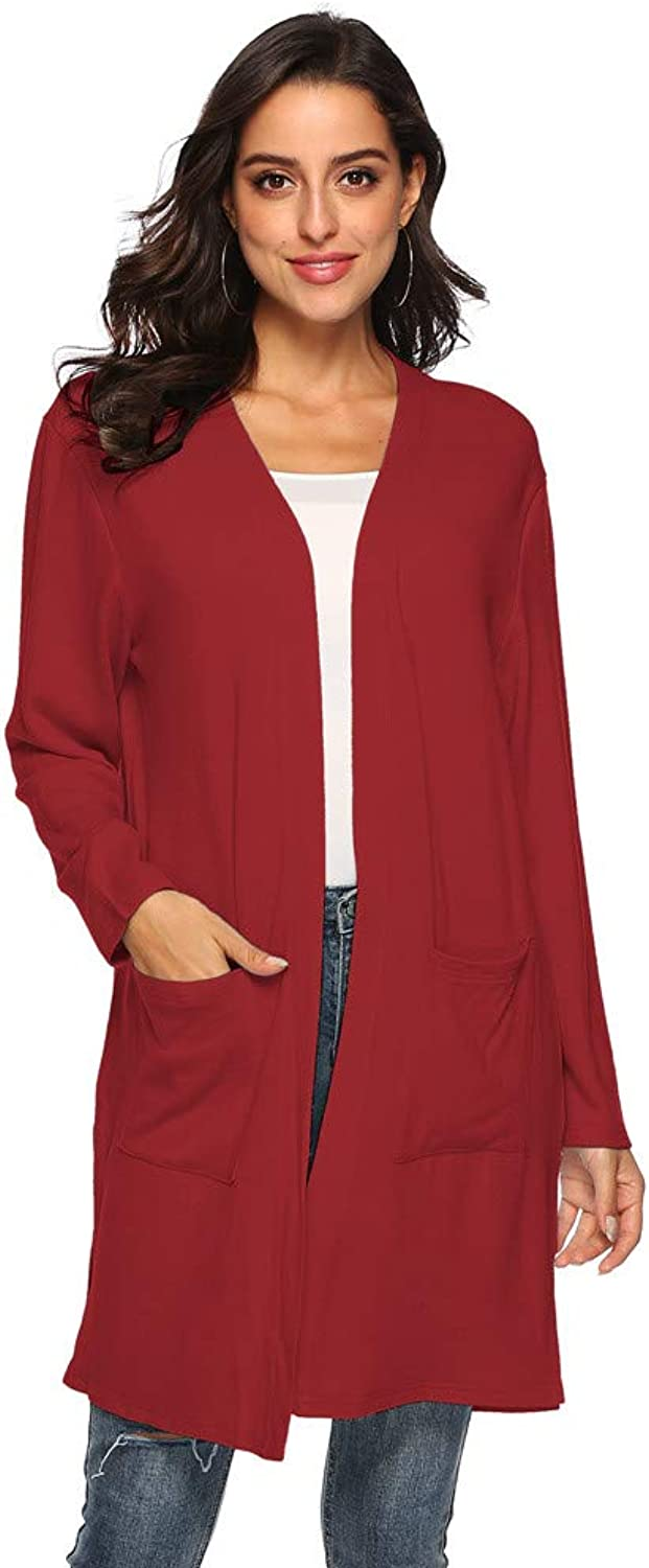 AI TIAN FEI Open Front Knit Long Wrap Cardigan Sweaters for Women with Pockets