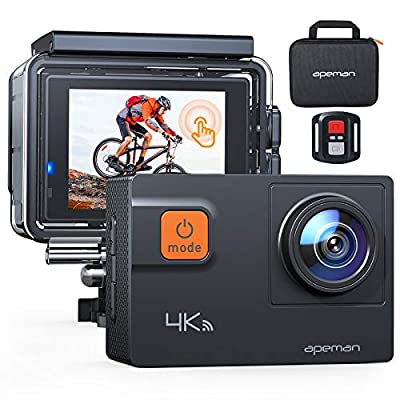 APEMAN ?Upgrade? A87 Action Camera Touch Screen 4K 60FPS 20MP Wi-Fi Sports Cam 8X Zoom EIS 40M Waterproof Underwater Camcoder with 22 Accessories and Carring Case, for Yutube/Vlog Videos from APEMAN