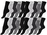 Vincent Creation 20 Paar Süsse Damensocken - Mädchensocken Baumwolle Dot´s and Stripes gepunktet & geringelt