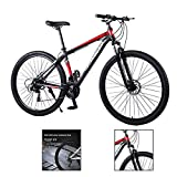 Bicicleta de montaña para hombre de 29 pulgadas, bicicleta de carretera, velocidad 21/24/27, luz de velocidad, cuadro de aluminio, acelerado, color rojo, 27 velocidades