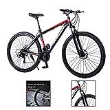 Bicicleta de montaña de 29 pulgadas, bicicleta de carreras 21/24/27 velocidad con marco de aluminio acelerado Mountain Bikes, color rojo, tamaño 27 speed, tamaño de rueda 29.0