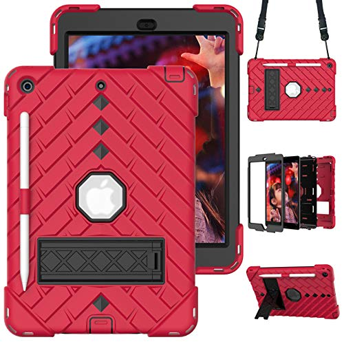 A-BEAUTY Case for iPad 8/7 (10.2' 2020/2019 Model, 8th / 7th Generation), with [Screen Protector] [Shoulder Strap] [Shockproof] [Kickstand], Red+Black