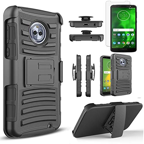 Motorola Moto G6 Case with [Tempered Glass Screen Protector],[Not Fit Moto G6 Play/G6 Plus] Built-in Kickstand Belt Clip Circlemalls Combo Belt Clip Holster Phone Cover-Black