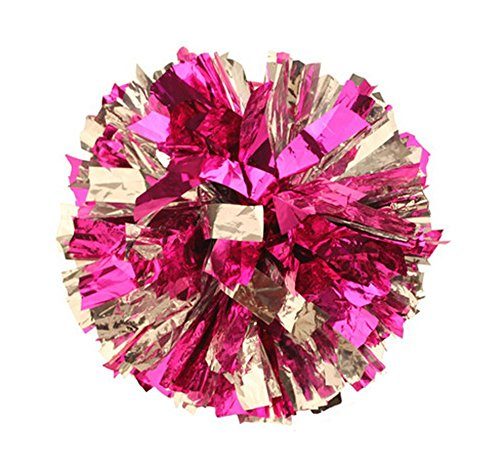 PUZINE Pack of 2 Metallic Foil & Plastic Ring Pom Poms(100) (Pink with Silver)