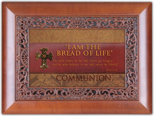 Cottage Garden Communion I Am The Bread of Life Woodgrain Inlay Jewelry Music Box Plays Ave Maria