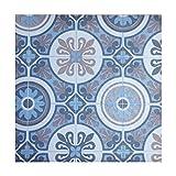 Alfombra PASO VINILICA Mendy imitación baldosa, vinílico de PVC, fácil Limpieza y Antideslizante (CP Azul, 100x200_cm)
