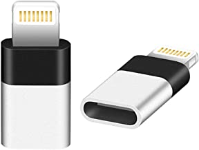 AODSC iOS Adapter, USB C (Female) to iOS (Male) Adapter, Support Charging and Data Transmission,Compatible with Phone Xs max Phone 8 8 Plus 7 7 Plus 6s 6s Plus 6 6 Plus [2 Pack](Black+White)