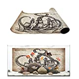 Aquarium Décor Backgrounds Vintage old newspaper background, Pirate Ship and Octopus Pattern Fish Tank Background Aquarium Sticker Wallpaper Decoration Picture PVC Adhesive Poster 48.8'W x 18.4'H