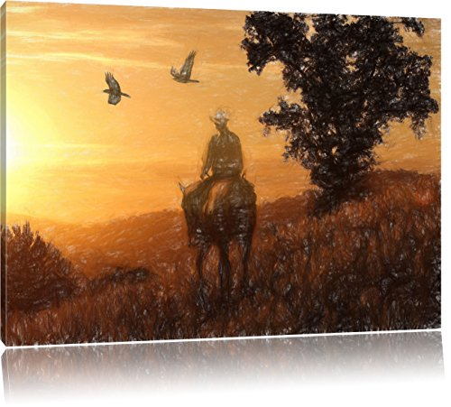 Pixxprint EIN Cowboy als Leinwandbild   Größe: 100x70 cm   Wandbild  Kunstdruck   fertig bespannt
