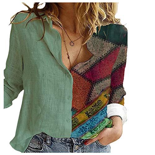 AFFGEQA Frauen lässig runder Ausschnitt lässig Farbblock Langarm Patchwork Blusen