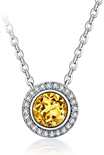 """Necklace Jewelry S925 Silver Natural Citrine Necklace Round Pendant Necklace Women's Clavicle Chain With 18"""" Chain Pendant..."""