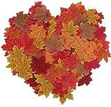 YIQI 200 Piezas Hojas de Arce otoñales Artificiales de otoño Colores de otoño - Grandes dispersiones de Mesa de otoño para Halloween, Día de Acción de Gracias,...