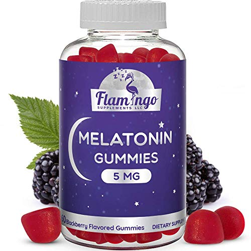 Vegan Melatonin Gummies for Kids and Adults- 5 mg Delicious Natural BlackBerry Flavor. 60 Count