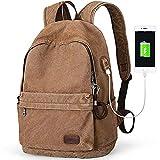 Mochila de lona con puerto de carga USB para hombres, mujeres, mochila de mochila de mochila ligera, antirrobo, para viajes, para estudiantes universitarios, para mochilas portátiles de hasta 15,6 pul
