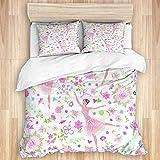 KENADVI Bettbezug-Set aus gewaschener Baumwolle,Ballett tanzende Ballerinas auf Blumenhintergrund,3-teiliges Luxus-Weichbettwäsche-Set Doppelgröße Double