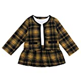 Toddler Baby Girl Plaid Skirt Outfit Cardigan Jacket Coat & Tutu Dress Long Sleeve Outfits Fall Winter Clothes Set (Yellow Plaid, 3-4T)