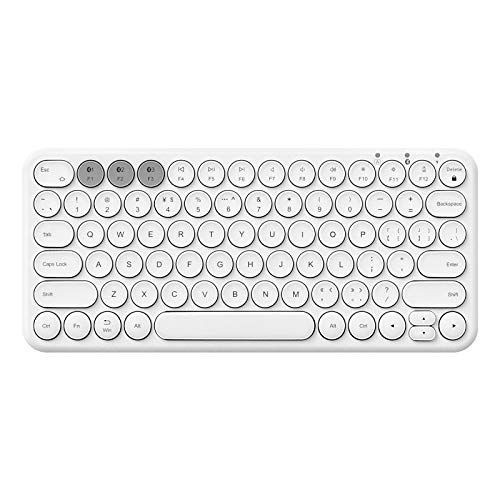 ZYHZP Wireless Silent Mini Gaming Keyboard Mouse Combo,Round Button Magic,For iPad iPhone Phone HP Laptop PC Gamer (Color : WHITE)