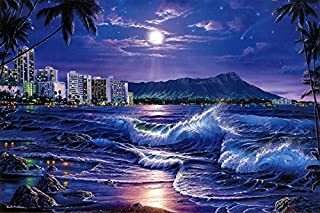 ru ri zhi sheng Landscape Art Christian Riese Lassen Waikiki Romance Oil Painting Prints on Canvas Wall Art Picture for Living Room Home Decorations 16