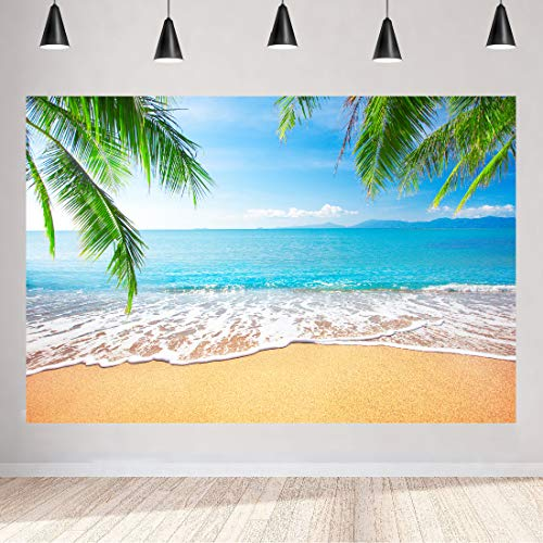Aperturee Summer Tropical Beach Backdrops 5x3ft Blue Sky Sea Ocean Clouds Hawaiian Luau Photography Background Baby Shower Wedding Birthday Holiday Party Decoration Photo Prop Studio Booth Photoshoot