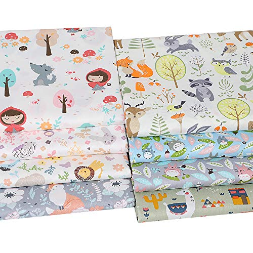 Hanjunzhao Cute Animals Fat Quarters Fabric Bundles,Print Fox Rabbit Totoro Alpaca Cotton Fabric,18 x 22 inches