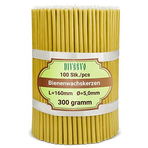 Diveevo Ritual Candles Beeswax Candles Amber Pack of 100 L 16 cm Diameter 5.0 mm Burn Time 30 Minutes Natural Drip Free Smokeless Thin Church Quality Made of Beeswax No. 140