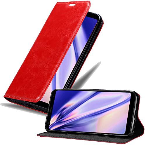 Cadorabo Hülle für LG Q Stylus - Hülle in Apfel ROT – Handyhülle mit Magnetverschluss, Standfunktion & Kartenfach - Hülle Cover Schutzhülle Etui Tasche Book Klapp Style