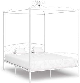 Festnight Cadre de Lit à Baldaquin en Métal Robuste et Durable Lit Classique à Chambre à Coucher Blanc 160 x 200 cm