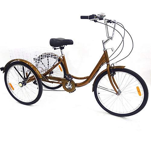 SENDERPICK 24 pulgadas 6 velocidades adulto 3 ruedas triciclo, adulto bicicleta Pedal de ciclismo con cesta blanca para deportes al aire libre compras ajustable, rojo