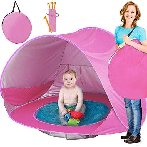 TURNMEON Baby Beach Tent, Pop Up Portable Sun Shelter with Pool, 50+ UPF UV Protection & Waterproof 300MM, Summer Outdoor Tent for...