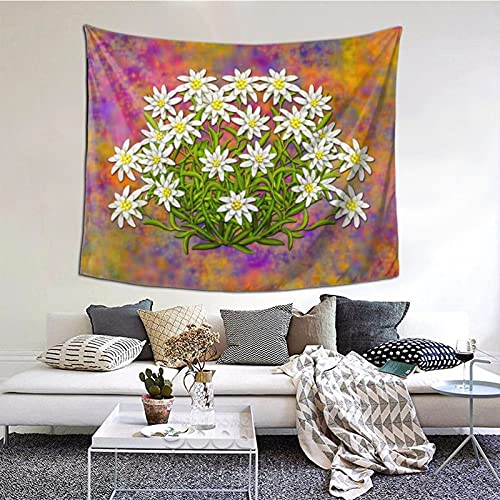 Swiss Edelweiss Flowers Tapestry Wall Hanging Wall Art,Multi Purpose Horizontal Wall Backdrop Blankets for Living Room Bedroom Dorm Home Party Decor,152x130cm
