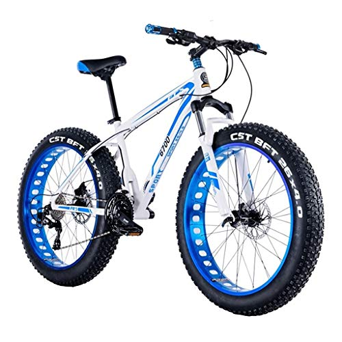 LYRWISHJD Outroad Mountain Bike 30 Speed Anti-Slip Bike 24 Inch Fat Tire Sand Bike Exercise Bikes Double Oil Brake Lockable Fork, Blue Or Black for Fitness, Commuting, Cross-Country