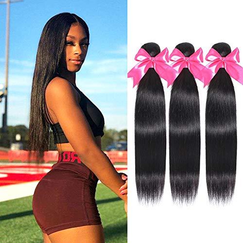 Tissage Bresilien En Lot 3 Bundles Tissage Vrais Cheveux Lisse Meches Bresiliennes 20 22 24 Pouces Cheveux Naturel Human Hair 10A Vierges Straight Extensions Hair (100g total)