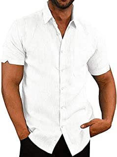 Cool1980s Mens Casual Pure Color Button Down Shirt