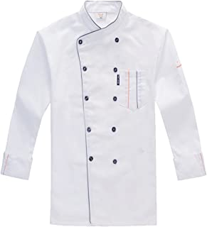 Unisex-Adult Chef's Uniform Long/Short Sleeves Double-Breasted Chef Coats for Mens Womens