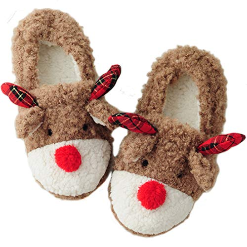 Women's Cute Reindeer House Slippers Animal Bedroom Slippers Indoor Shoes, UK Size 8/ US Size 9-10