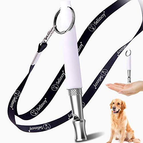 Selinoy Dog Whistle, Adjustable Pitch for Stop Barking Recall Training- Professional Dogs Training Whistles Tool for with Free Black Strap Lanyard (White)