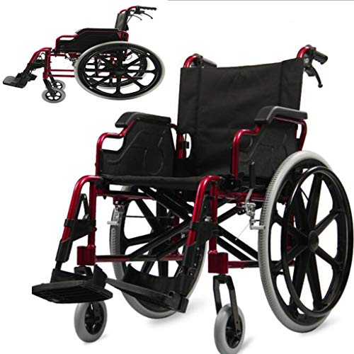 Silla de ruedas de aleación de aluminio, ultraligera, plegable, portátil, con sobrepeso, para personas mayores, con discapacidad