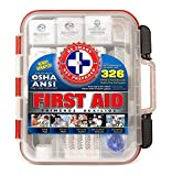 Be Smart Get Prepared First Aid Kit Hard Case, Red, 326 Piece Set, 1 Count