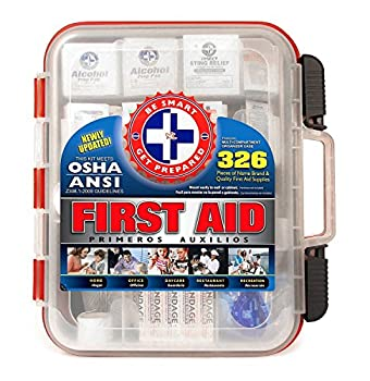 First Aid Kit Hard Red Case 326 Pieces Exceeds OSHA and ANSI Guidelines 100 People - Office Home Car School Emergency Survival Camping Hunting and Sports