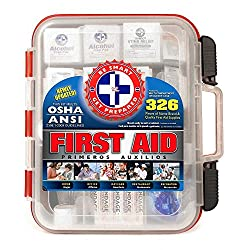 First Aid Kit Hard Red Case 326 Pieces Exceeds OSHA and ANSI...