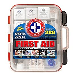 "First Aid Kit Hard Red Case 326 Pieces Exceeds OSHA and ANSI Guidelines 100 People - Office, Home, Car, School, Emergency, Survival, Camping, Hunting, and Sports 4 <p>Made by the number one leading manufacturer of first Aid kits in the USA. 326 pieces of comprehensive first aid treatment products. FDA approved: manufactured from the highest of quality FDA approved facility exceeding safety standards for emergency first aid, for adults and kids. Meets or exceeds OSHA and ANSI 2009 guidelines for 100 people. Ideal for most businesses and perfect for family Use at home. Fully organized interior compartments provides quick access. Rugged, sturdy, high density plastic case is impact resistant. Two separate layers of first Aid for large and small first aid Products and tilting shelves designed for easy access and refill. Wall mounts or folds compactly for storage. Case dimensions: 13"" X 12"" X 4"". Easy slide latches securely locks into place. Includes a refill order form.</p>"