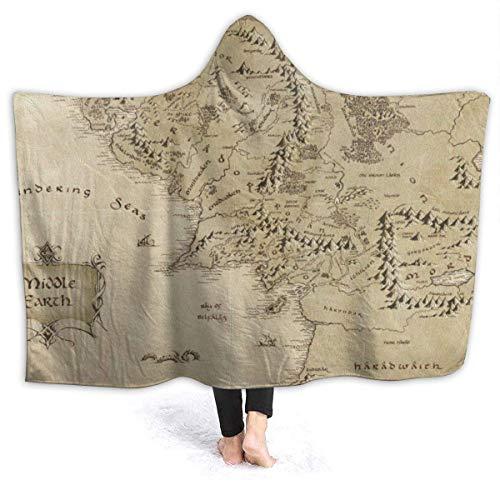 Decke Mittelerde Karte Fleece Throw Hoodie Decke Superweiche Poncho Faltenresistente Tagesdecken Alle Season153 * 127Cm