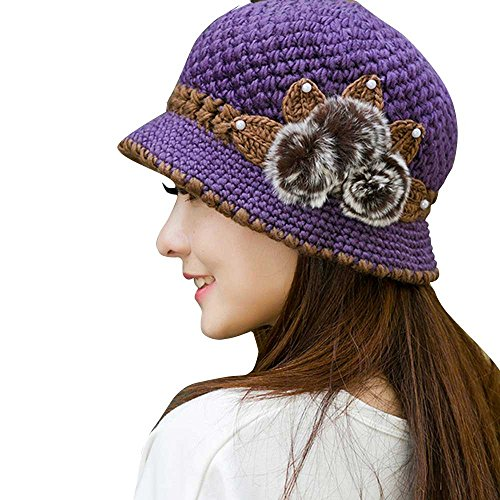 YWLINK Mode Damen Winter Warm Mit Fellbommel MüTzen HäKeln Gestrickte Blumen Dekoriert Ohren Hut (Einheitsgröße,Lila)
