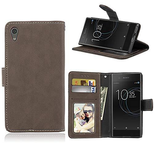 Sangrl Lederhülle Schutzhülle Für Sony Xperia XA1 / Z6, PU-Leder Klassisches Design Wallet Handyhülle, Mit Halterungsfunktion Kartenfächer Flip Hülle Braun