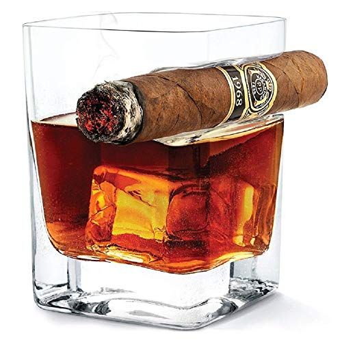 DOUBLE OLD FASHIONED COCKTAIL ROCK GLASS WITH BUILT IN CIGAR HOLDER FOR WHISKEY OR BOURBON